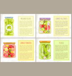 Olives tomatoes canned or preserved vegetables vector