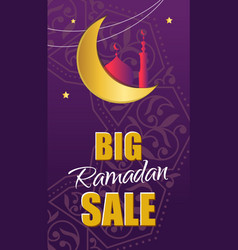 Ornate banner on purple background islamic vector