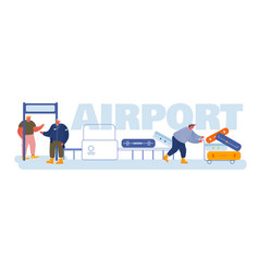 passengers in airport concept people put baggage vector image