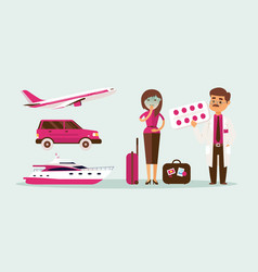 people motion sickness while traveling in vector image