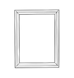 Rectangular doodle line art frame vector