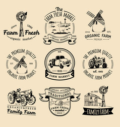 Retro set of farm fresh logotypes vintage vector