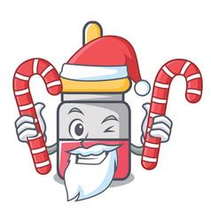 santa with candy nassal drop mascot cartoon vector image