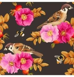 seamless dog-rose and bird vector image
