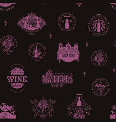 seamless pattern with wine logos signs symbols vector image