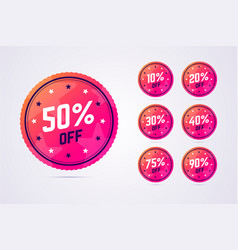 set of sale badges in modern gradient style vector image