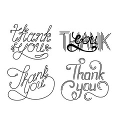 set of thank you hand lettering phrases vector image