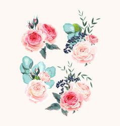 Set vintage pastel flowers and leaves vector