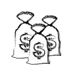 silhouette close bank bags with moneys inside vector image