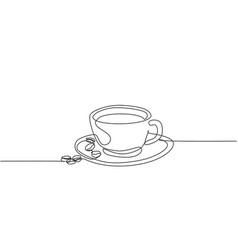 single continuous line drawing a cup coffee vector image
