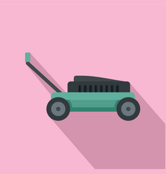Small lawn mower icon flat style vector