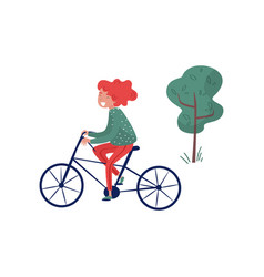 smiliing girl riding bicycle eco friendly vector image