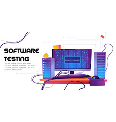 Software testing cartoon banner functional test vector