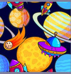 Space cartoon seamless pattern vector