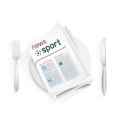 Sport news tablewares vector