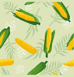 Summer pattern with sweet corns flowers vector