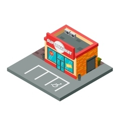 supermarket isometric building isolated vector image