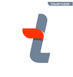 T letter logo with fast speed red flag line vector