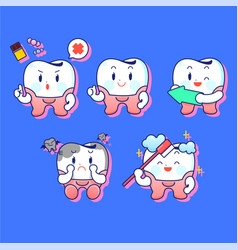 Teeth care and hygiene concept character vector
