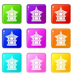 Traditional korean pagoda icons 9 set vector