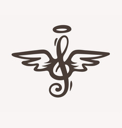 Treble clef sign with wings vector