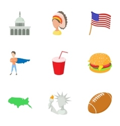 USA country icons set cartoon style vector
