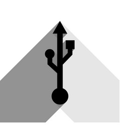 Usb sign black icon with two vector