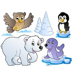 Various happy winter animals vector