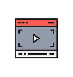 Video player on browser multimedia page vector