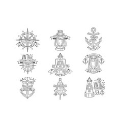Vintage sea collection black and white emblems vector