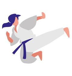 Woman practicing martial arts character vector