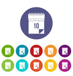 10 date calendar icons set flat vector image