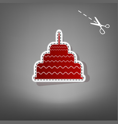 cake with candle sign red icon with for vector image vector image