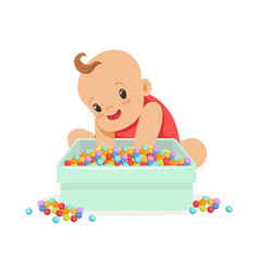 cute happy baby sitting and playing with box full vector image