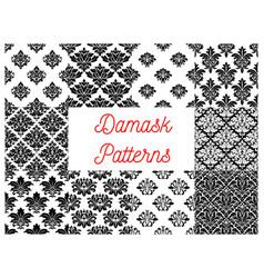 damask floral ornate patterns set vector image vector image