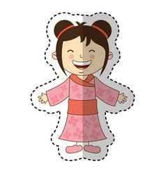 japanese little girl icon vector image