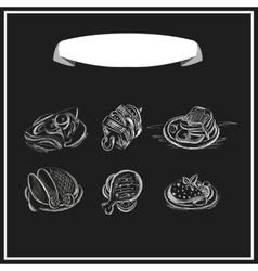 Meat menu chalked on a blackboard design vector image vector image