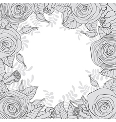 Monochrome frame of flowers vector image vector image
