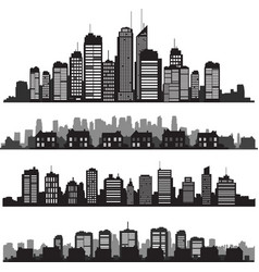 Set of cities silhouette and buildings vector image vector image