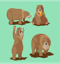 bear wild character cartoon set vector image vector image
