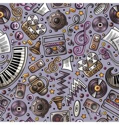 Cartoon hand-drawn musical instruments seamless vector image vector image