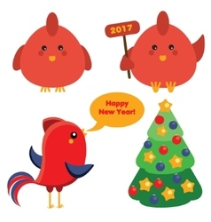 Cute red roosters and christmas spruce tree in vector image vector image