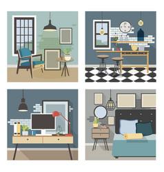 modern interior set in loft style vector image