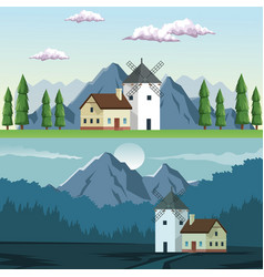 two graphic frames landscape in daytime and night vector image vector image