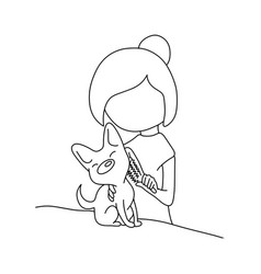 woman combing fur her small dog on a table vector image