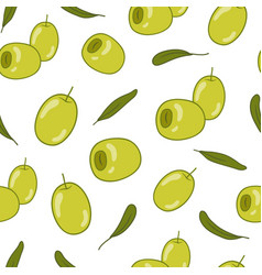green olives seamless pattern food background vector image