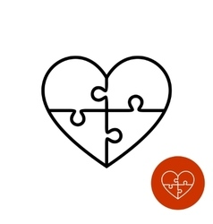Heart puzzle linear logo divided on four vector image vector image