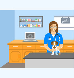 veterinarian doctor holds dog on examination table vector image vector image