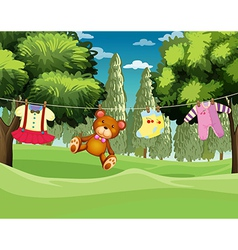 A teddy bear and clothes hanging vector image