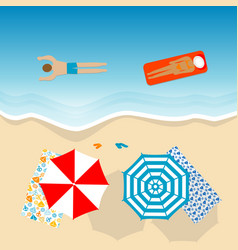 aerial view of a beach with people in vacation vector image
